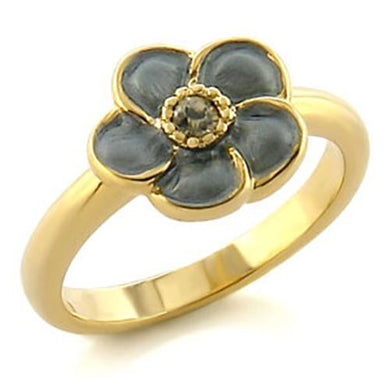 LO538 - Gold White Metal Ring with Top Grade Crystal  in Black Diamond