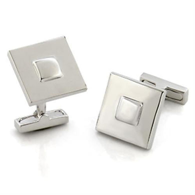 LO554 - Rhodium Brass Cufflink with No Stone