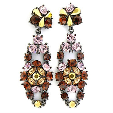 LO629 - Ruthenium White Metal Earrings with Top Grade Crystal  in Multi Color