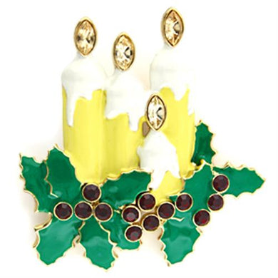 LO844 - Gold White Metal Brooches with Top Grade Crystal  in Citrine Yellow