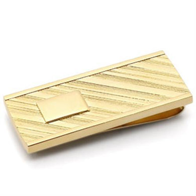 LO875 - Gold Brass Money clip with No Stone