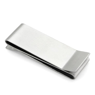 LO877 - Rhodium Stainless Steel Money clip with No Stone