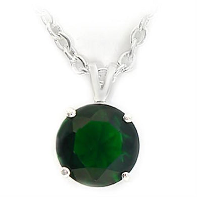 LOA072 - Silver Brass Chain Pendant with Synthetic Spinel in Emerald