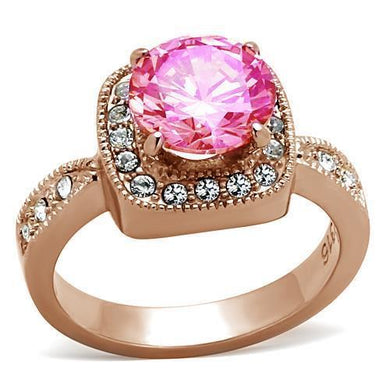 LOA1149 - IP Rose Gold(Ion Plating) Brass Ring with AAA Grade CZ  in Light Rose