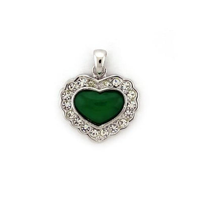 LOA1308 - Rhodium platina Pendant with Synthetic Jade in Emerald