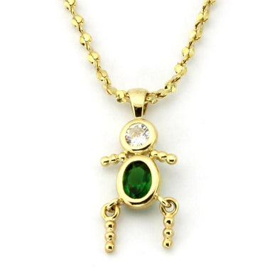 LOA1358 - Gold Brass Chain Pendant with AAA Grade CZ  in Emerald