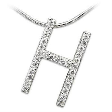 LOA259 - High-Polished 925 Sterling Silver Pendant with AAA Grade CZ  in Clear