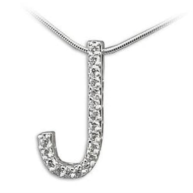 LOA261 - High-Polished 925 Sterling Silver Pendant with AAA Grade CZ  in Clear