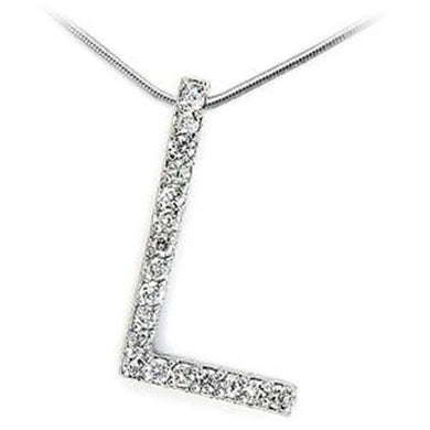 LOA262 - High-Polished 925 Sterling Silver Pendant with AAA Grade CZ  in Clear