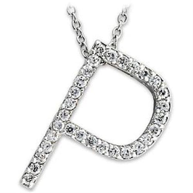LOA263 - High-Polished 925 Sterling Silver Pendant with AAA Grade CZ  in Clear