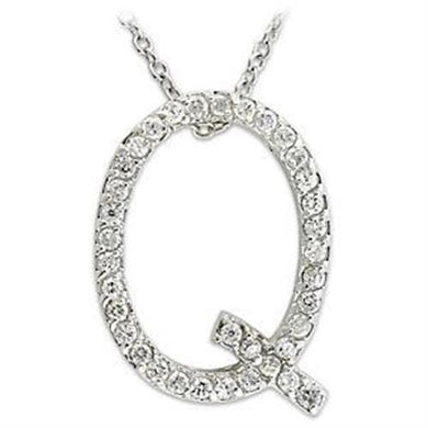 LOA264 - High-Polished 925 Sterling Silver Pendant with AAA Grade CZ  in Clear