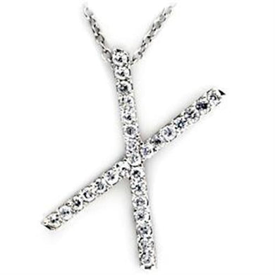 LOA267 - High-Polished 925 Sterling Silver Pendant with AAA Grade CZ  in Clear