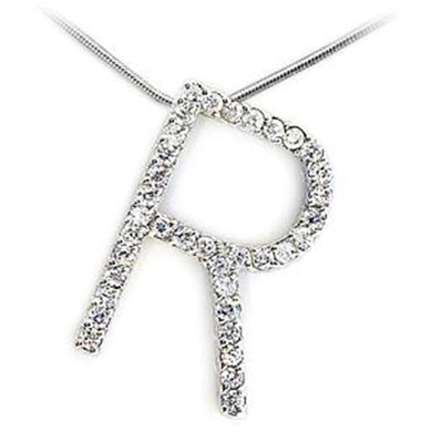 LOA269 - High-Polished 925 Sterling Silver Pendant with AAA Grade CZ  in Clear
