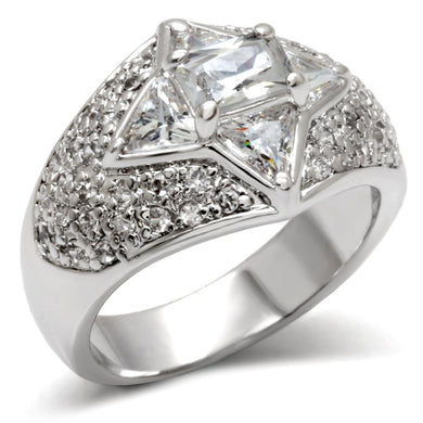LOA477 - High-Polished 925 Sterling Silver Ring with AAA Grade CZ  in Clear