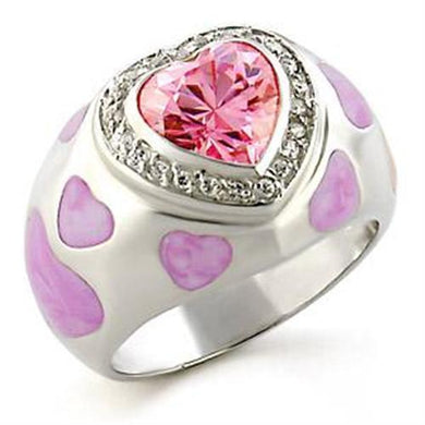 LOA517 - High-Polished 925 Sterling Silver Ring with AAA Grade CZ  in Rose