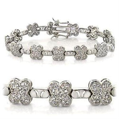 LOA545 - Rhodium Brass Bracelet with AAA Grade CZ  in Clear
