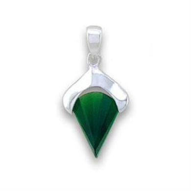 LOA564 - Silver 925 Sterling Silver Pendant with Synthetic Synthetic Glass in Emerald
