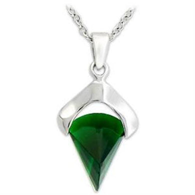 LOA566 - Silver 925 Sterling Silver Pendant with Synthetic Synthetic Glass in Emerald