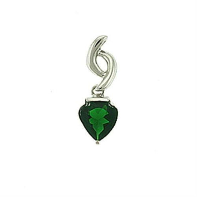 LOA601 - Rhodium Brass Pendant with Synthetic Synthetic Glass in Emerald