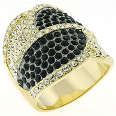 LOA607 - Gold & Brush Brass Ring with Top Grade Crystal  in Multi Color
