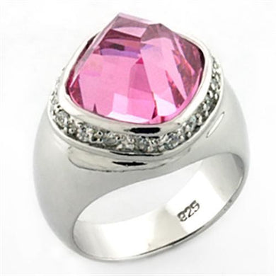 LOA641 - Rhodium 925 Sterling Silver Ring with AAA Grade CZ  in Rose