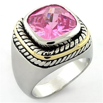LOA667 - Rhodium Brass Ring with AAA Grade CZ  in Rose