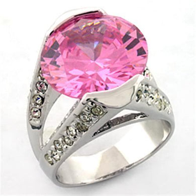 LOA686 - Rhodium Brass Ring with AAA Grade CZ  in Rose