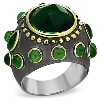 LOA881 - Reverse Two-Tone Brass Ring with Synthetic Synthetic Glass in Emerald