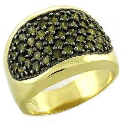 LOAS1042 - Gold 925 Sterling Silver Ring with AAA Grade CZ  in Peridot
