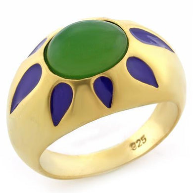 LOAS1131 - Matte Gold 925 Sterling Silver Ring with Synthetic Jade in Emerald