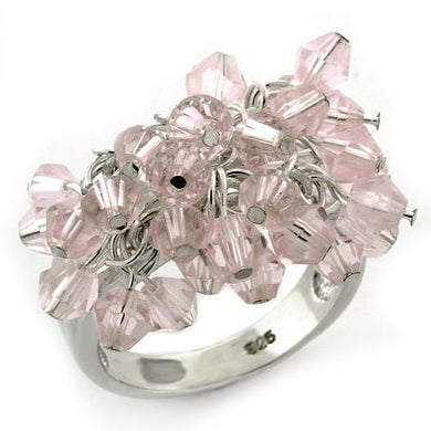 LOAS1141 - High-Polished 925 Sterling Silver Ring with Synthetic Acrylic in Light Rose