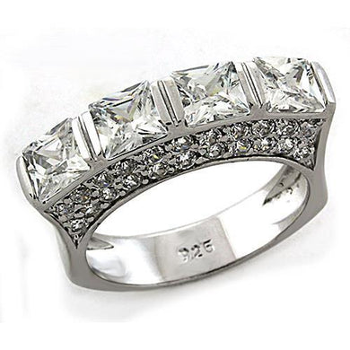 LOAS1188 - Rhodium 925 Sterling Silver Ring with AAA Grade CZ  in Clear