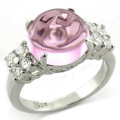 LOAS1206 - High-Polished 925 Sterling Silver Ring with Synthetic Acrylic in Light Rose