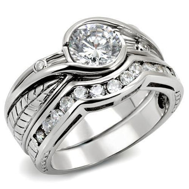 LOAS1215 - Rhodium 925 Sterling Silver Ring with AAA Grade CZ  in Clear