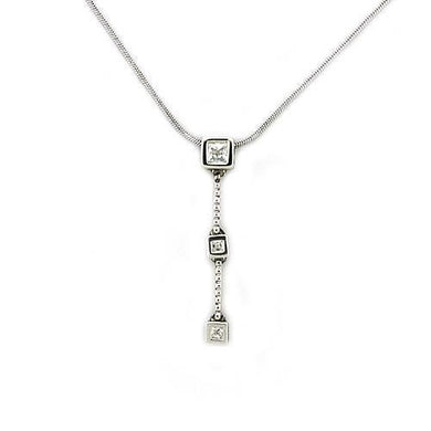 LOAS1314 - Rhodium 925 Sterling Silver Chain Pendant with AAA Grade CZ  in Clear