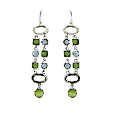 LOAS1334 - Rhodium 925 Sterling Silver Earrings with AAA Grade CZ  in Peridot