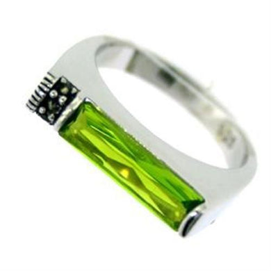 LOAS722 - Rhodium 925 Sterling Silver Ring with Synthetic Synthetic Glass in Peridot