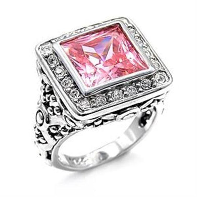 LOAS758 - Rhodium 925 Sterling Silver Ring with AAA Grade CZ  in Rose
