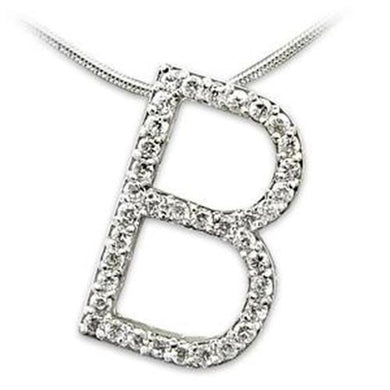 LOAS801 - Rhodium 925 Sterling Silver Pendant with AAA Grade CZ  in Clear