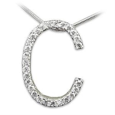 LOAS802 - Rhodium 925 Sterling Silver Pendant with AAA Grade CZ  in Clear