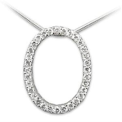 LOAS807 - Rhodium 925 Sterling Silver Pendant with AAA Grade CZ  in Clear