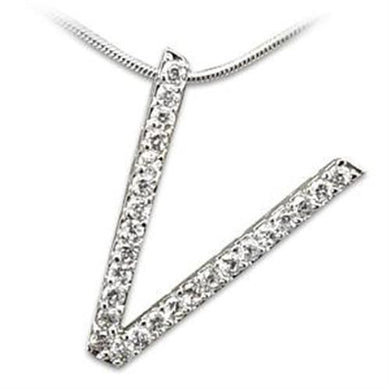 LOAS808 - Rhodium 925 Sterling Silver Pendant with AAA Grade CZ  in Clear