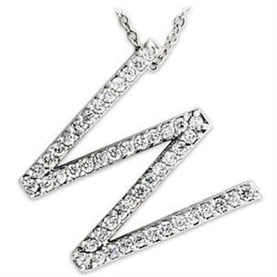 LOAS809 - Rhodium 925 Sterling Silver Pendant with AAA Grade CZ  in Clear