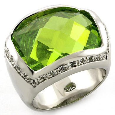 LOAS817 - Rhodium 925 Sterling Silver Ring with Synthetic Synthetic Glass in Peridot