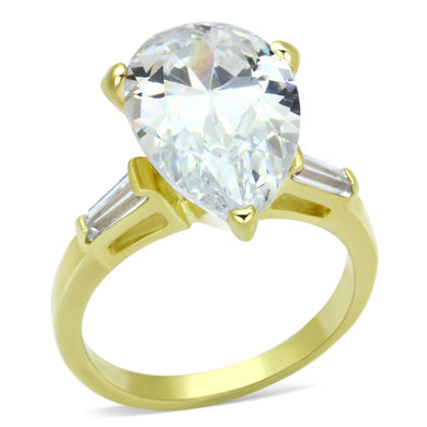 LOAS867 - Gold 925 Sterling Silver Ring with AAA Grade CZ  in Clear