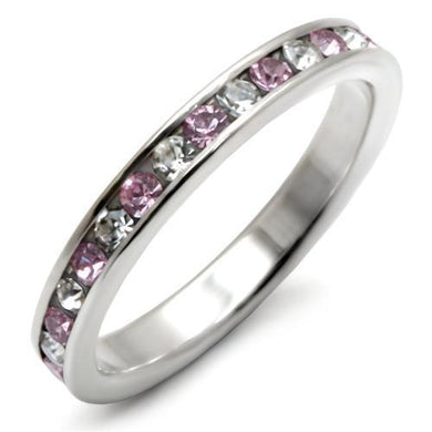 LOAS911 - High-Polished 925 Sterling Silver Ring with Top Grade Crystal  in Light Amethyst