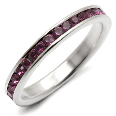 LOAS915 - High-Polished 925 Sterling Silver Ring with Top Grade Crystal  in Amethyst
