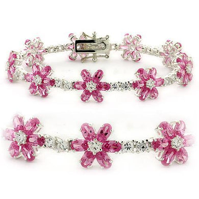LOAS956 - High-Polished 925 Sterling Silver Bracelet with AAA Grade CZ  in Rose