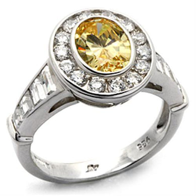 LOS031 - Rhodium 925 Sterling Silver Ring with AAA Grade CZ  in Topaz