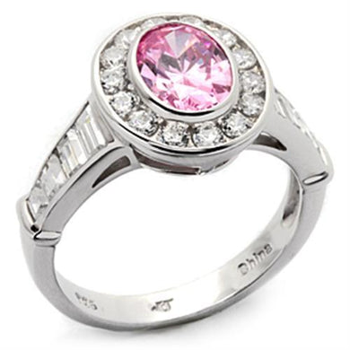 LOS044 - Rhodium 925 Sterling Silver Ring with AAA Grade CZ  in Rose